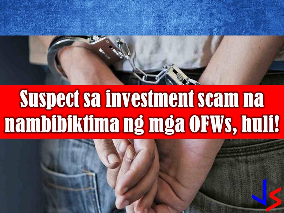 The man behind alleged investment scam was arrested by police authorities in Barangay Muzon, San Jose del Monte Bulacan.  The suspect is identified as Sherwin Piramide, who according to GMA report, amassed P30 million pesos. Majority of his victims is said to be Overseas Filipino Workers (OFWs).