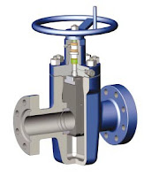 cutaway view of slab gate valve for oil wellhead use