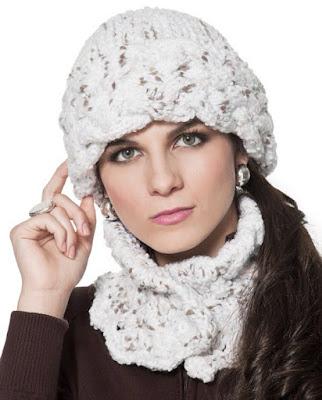gorro feminino touca feminina chapeu quente cabeça mulher inverno look branco lã cachecol elegante chique