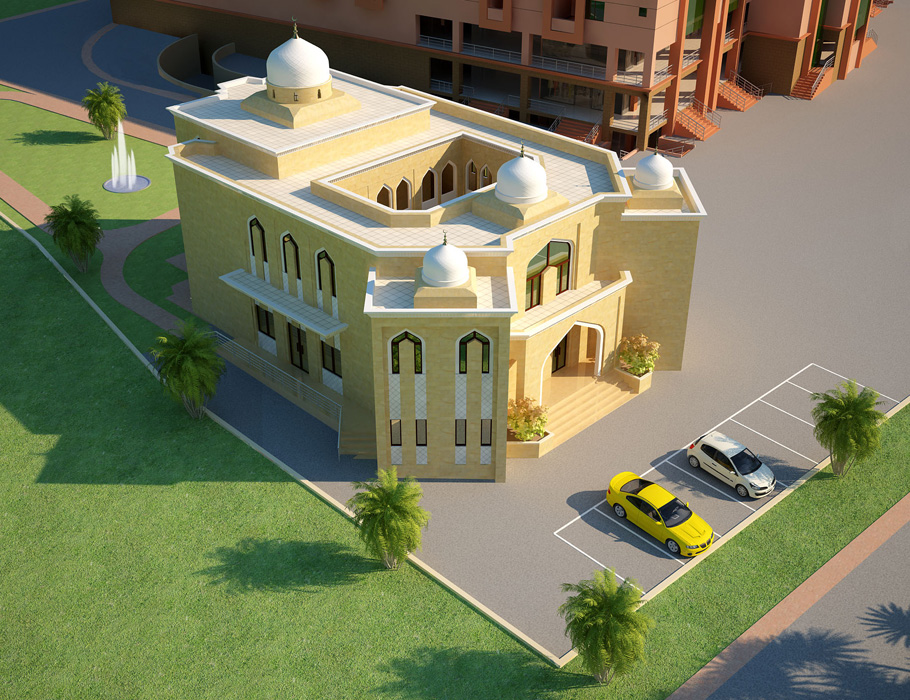 3d Front Elevation Com Dimentia Muslim Mosque 3d Front