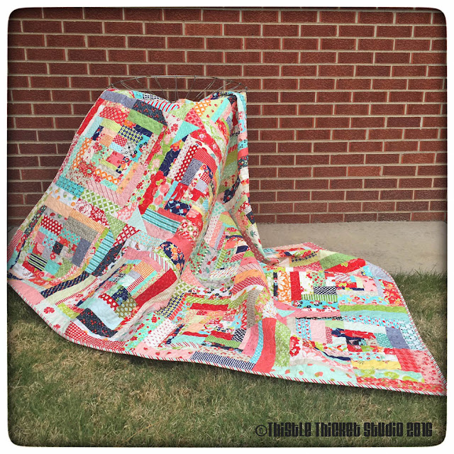 Bonnie and Camille Log Cabin Swap, log cabin quilt, thistle thicket studio