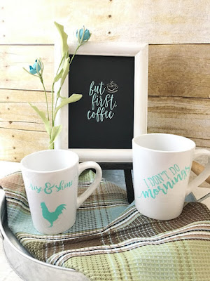Vintage Paint and more... Set of coffee mugs and cute little sign diy'd with Chalk Couture transfers, chalk paste, and Coutute ink.
