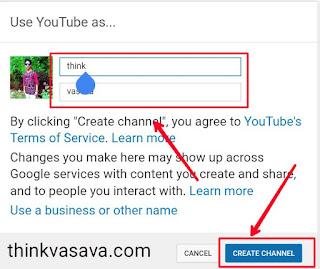 Apni channel ka name choose kar ke entre kare or create channel pe click kar de