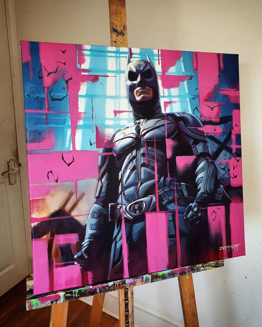 05-Batman-Dark-Knight-DC-Ben-Jeffery-Superhero-and-Villain-Movie-Paintings-www-designstack-co