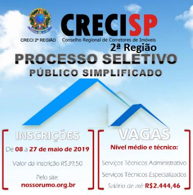 Edital: CRECISP abre 5 vagas para Nível Médio e Médio Técnico