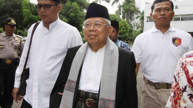 Ketua MUI Ma'ruf Amin menuju gedung Kementan