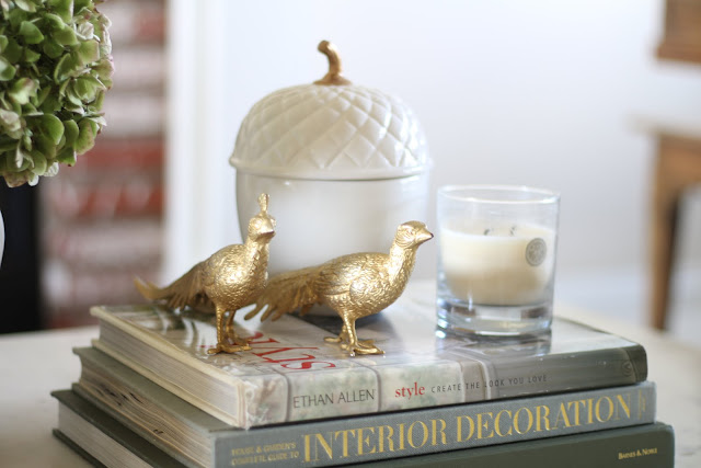 fall coffee table ceramic acorn gold pheasants candle