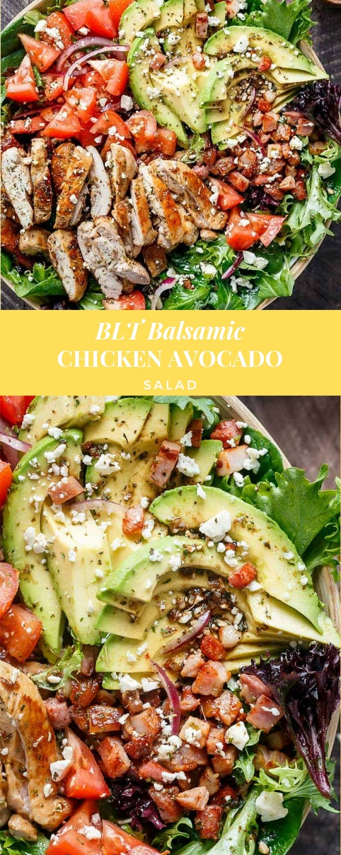 BLT Balsamic Chicken Avocado Salad