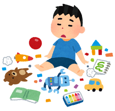 おもちゃを散らかしている子供のイラスト
