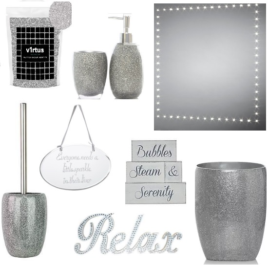 Home Decor 2 Silver Glitter Bathroom