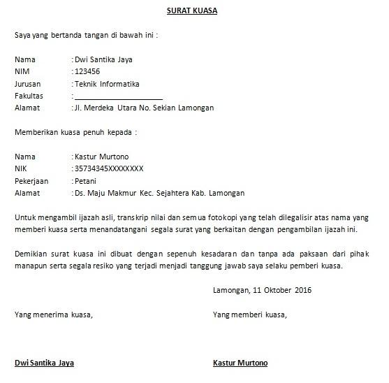 Contoh Surat Kuasa Pengambilan Bpkb Di Oto Finance ...