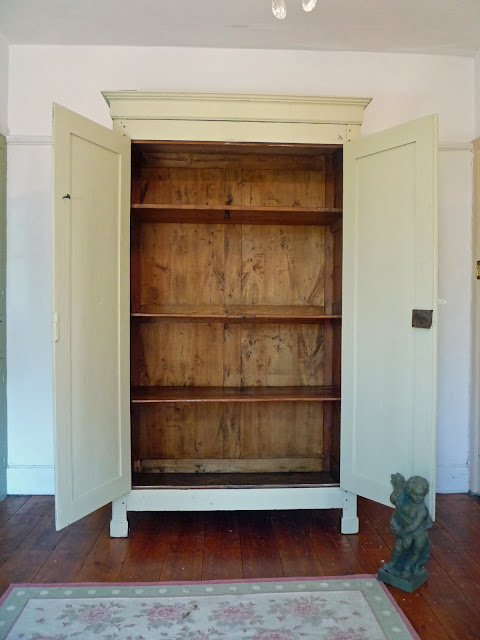 Exterior Of Painted Henri II Style Vintage French Armoire