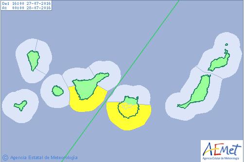 Aviso amarillo por oleaje en Gran Canaria y Tenerife, 27 y 28 de julio