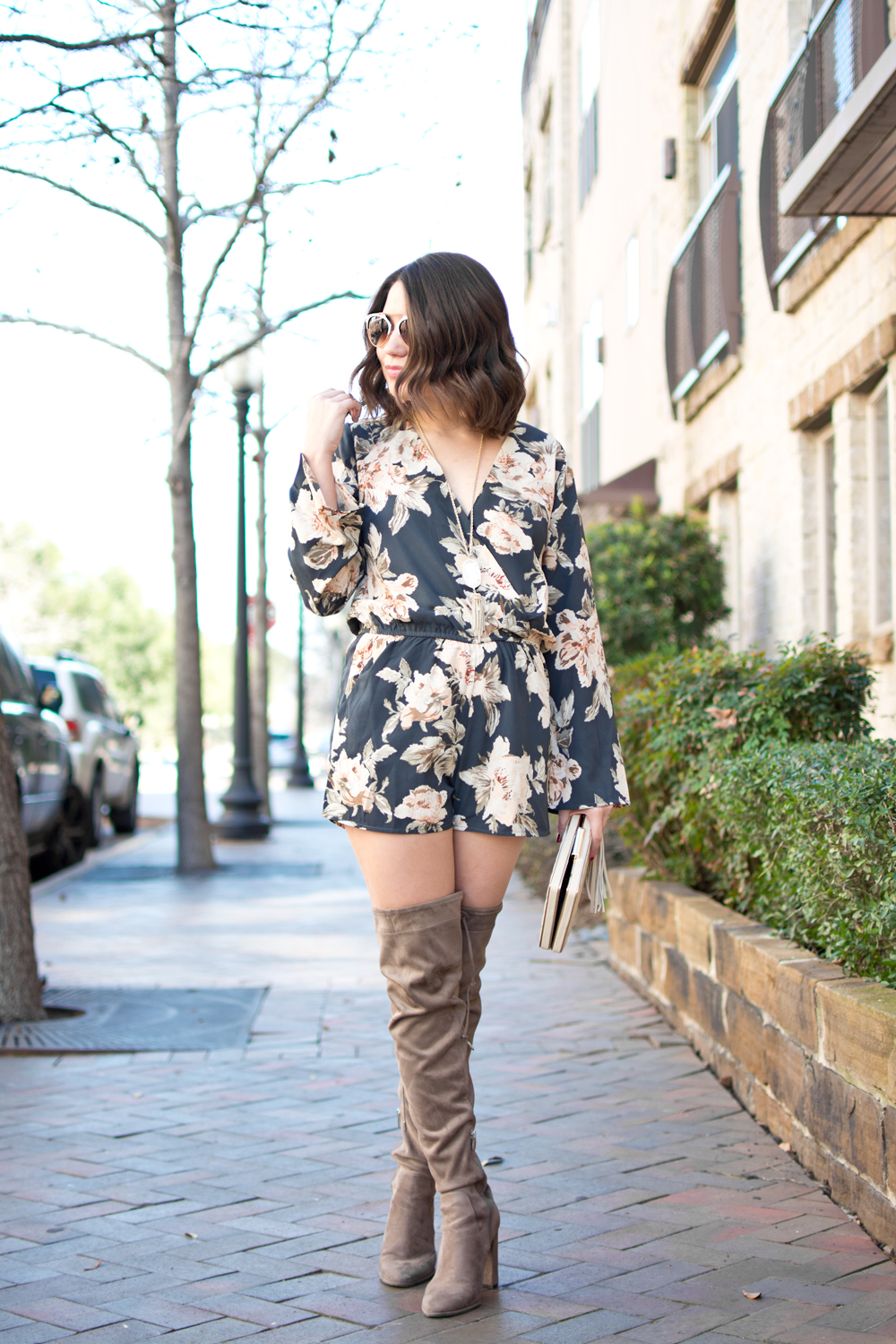 spring outfit, spring fashion, fashion blogger, spring outfit ideas, winter to spring transition pieces, floral romper, how to style a romper, how to style over the knee boots