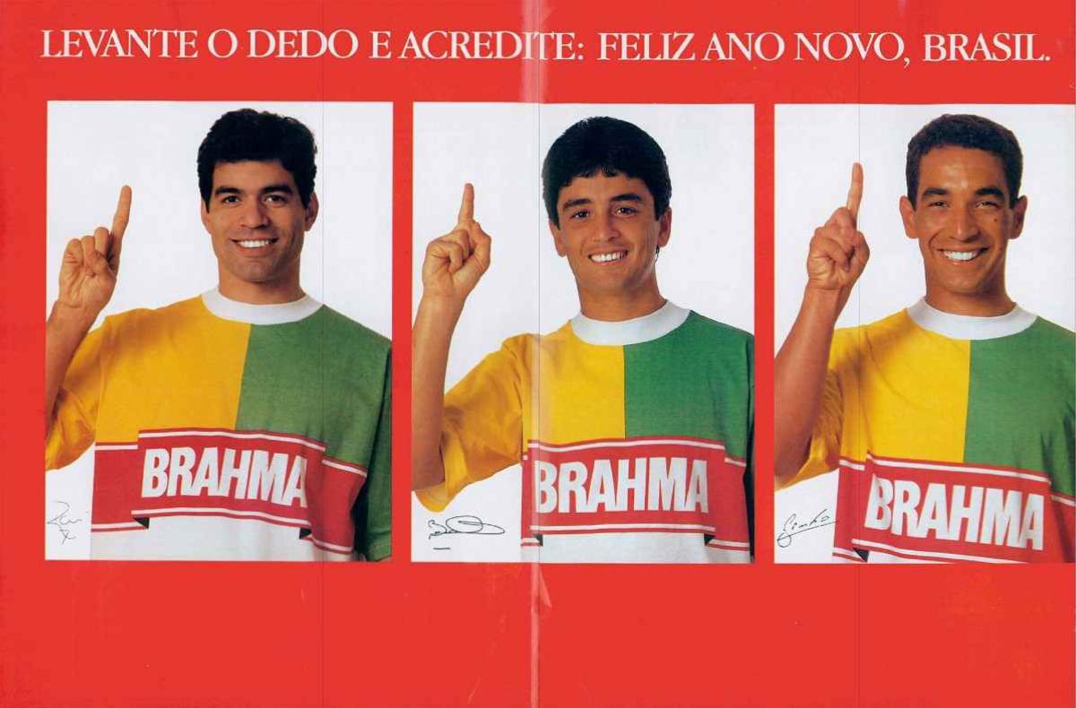Campanha da Brahma com Raí, Bebeto e Zinho pra celebrar o ano novo de 1994