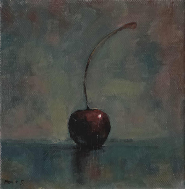 "160607_36 Cherry. Daily Painting  Painted in acrylics on canvas 6"" x 6"". Presented unframed and gallery-wrapped"