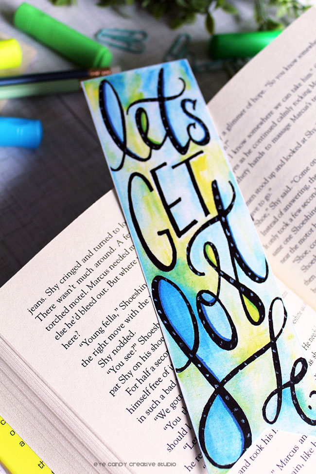bookworm, reading, free bookmark, let's get lost, watercolor, lettered