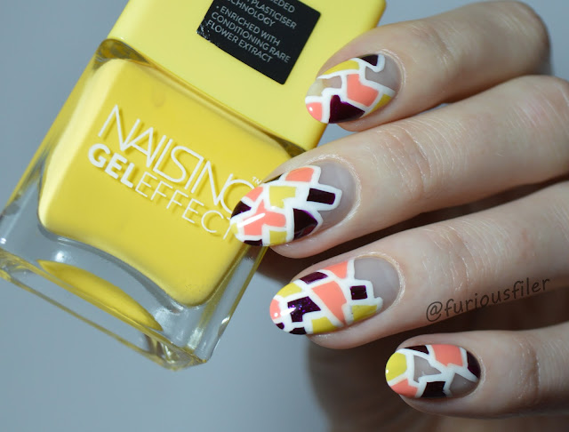 negative space nails tutorial mosaic free hand bright