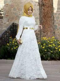 Kumpulan Baju Gamis Muslim Kombinasi Brokat Terbaru Warna Putih 2018