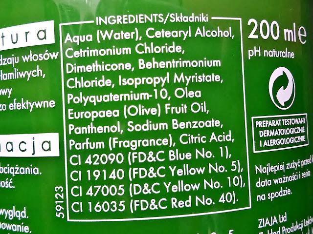 Ziaja - Naturalna, oliwkowa maska regenerująca do włosów, skład