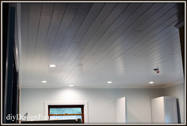 plank ceiling, Sherwin Williams Topsail,  cottage kitchen,  kitchen reno, cottage, cottage style, farmhouse, farmhouse style, diyDesignFanatic.com
