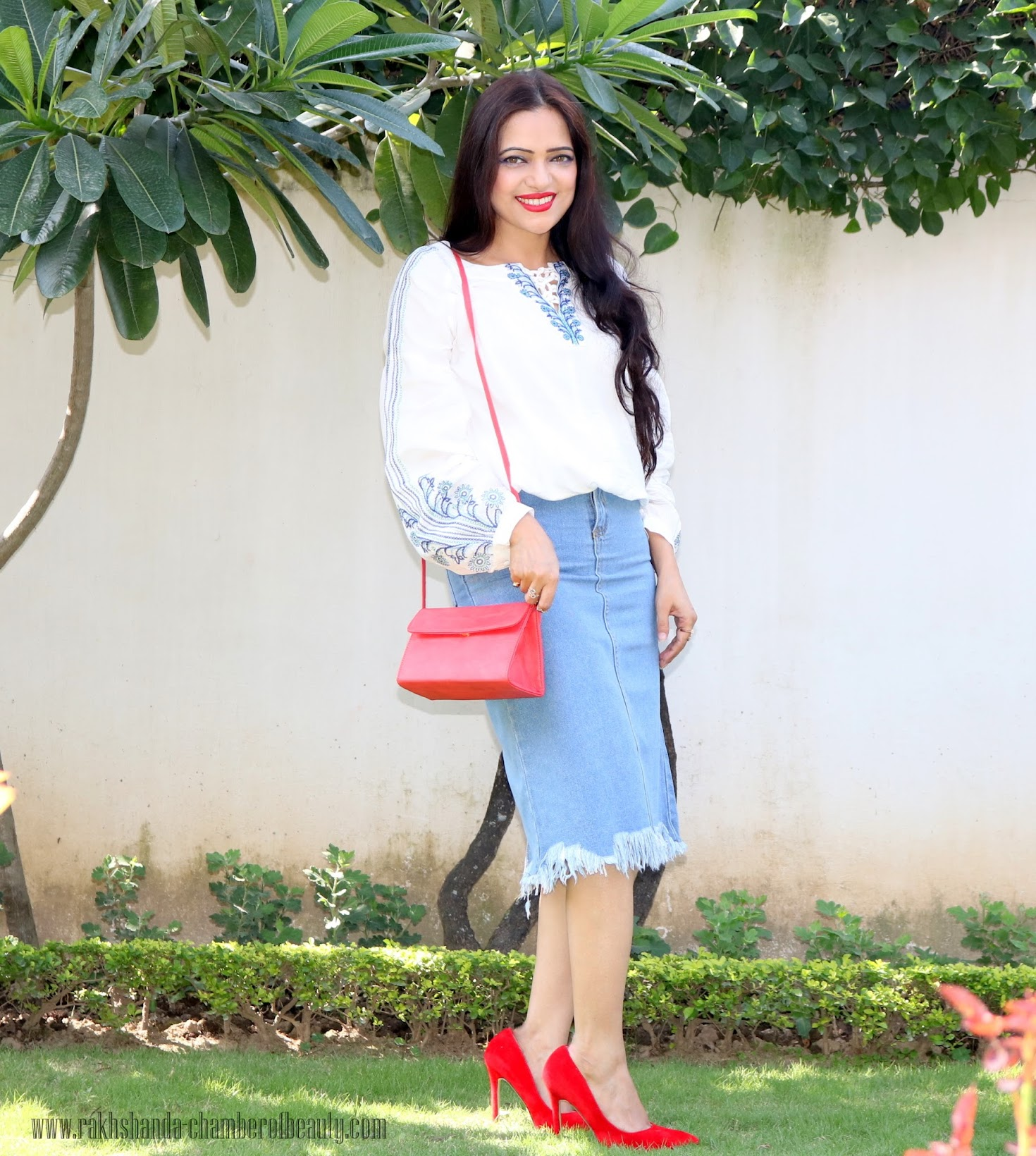 denim skirt with white embroidered blouse, Chamber Of Beauty, fall fashion trends 2015, how to style a denim skirt, zaful, Indian fashion blogger, outfit of the day, red bag, Stalk By Love, Lovely Wholesale, fall fashion, OOTD, denim skirt with white blouse, denim skirt with red heels, fashion, Embroidered blouse with denim skirt, Indian beauty blog