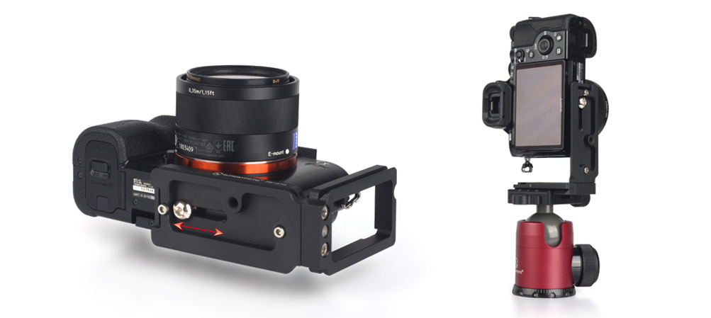 SONY a7 w/ Sunwayfoto PSL-a7II L Bracket away from side - bottom view & clamped in portrait