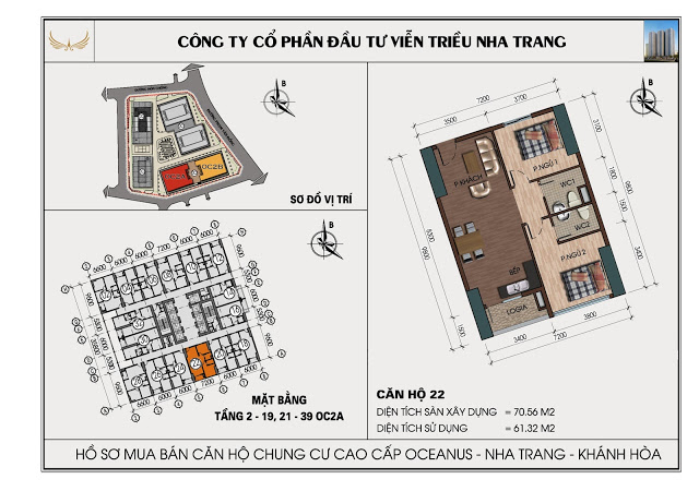 Sơ đồ căn hộ số 22 tòa OC2A Viễn Triều Nha Trang
