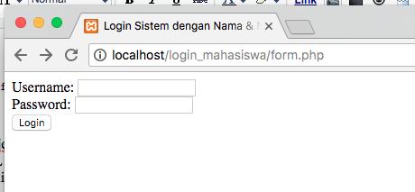 cara membuat sistem login dengan nama dan nim