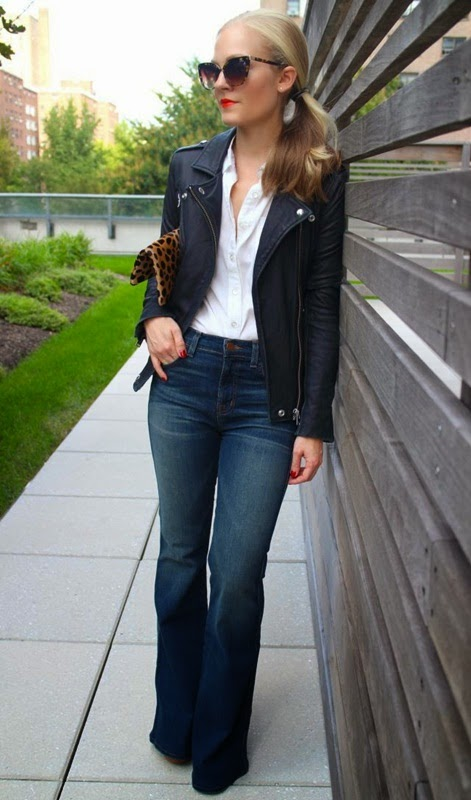 Wearing a Flared Jeans with Leather Jacket and Animal Printed Accessories for Casual Look