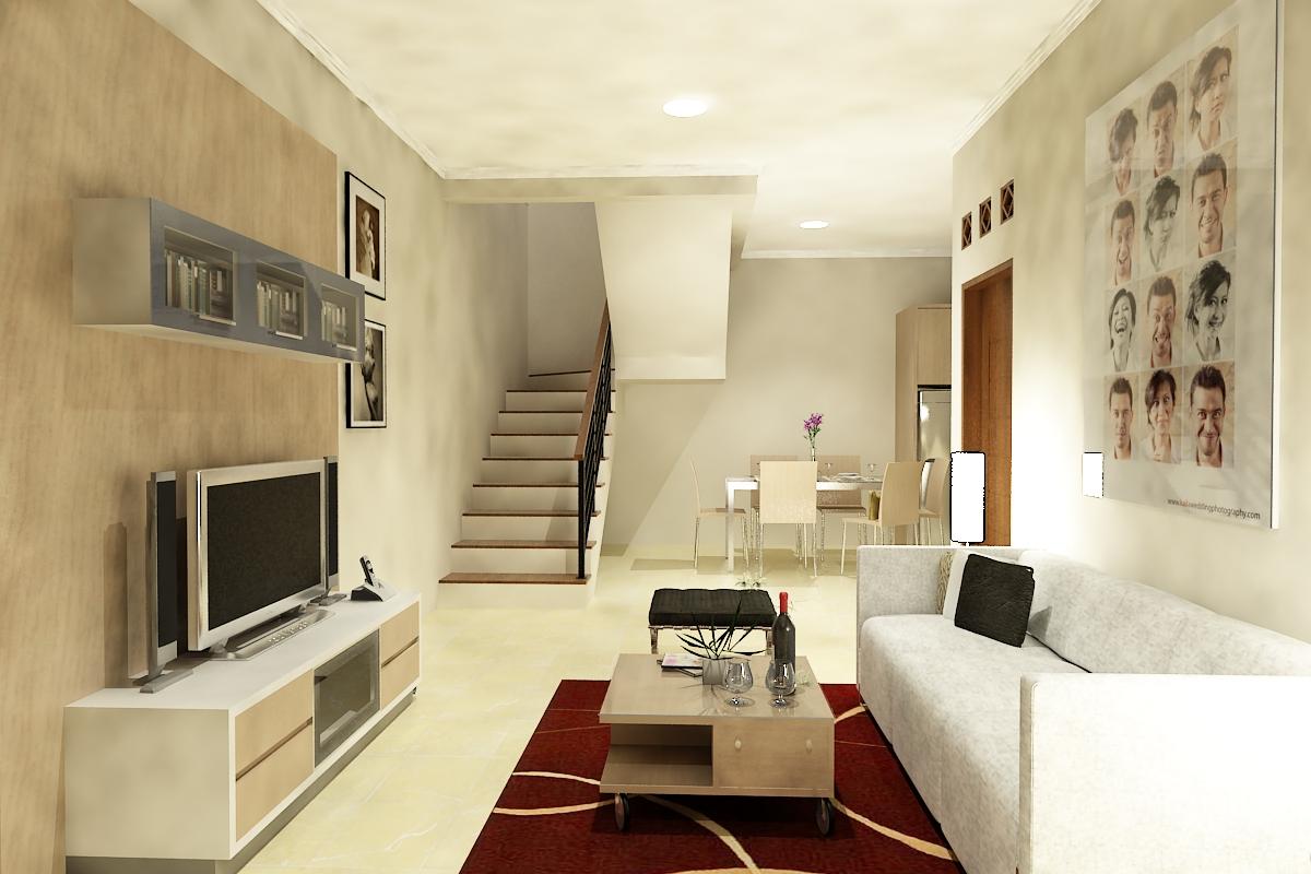 Ruang Keluarga Sederhana Dengan Satu Sofa Panjang REFERENSI