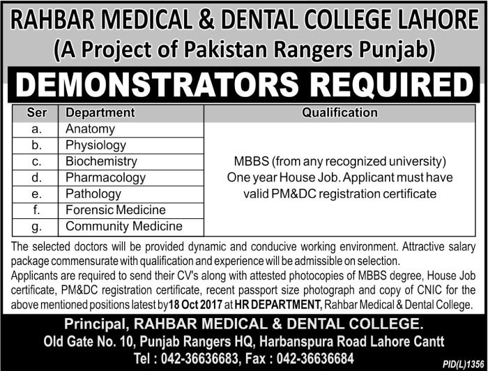 Jobs in Rahbar Medical and Dental College Lahore October 2017.