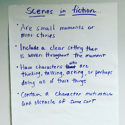 scenes in fiction, anchor chart, back to school