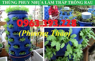 Thiết kế Tháp trồng rau từ thùng phuy nhựa cũ