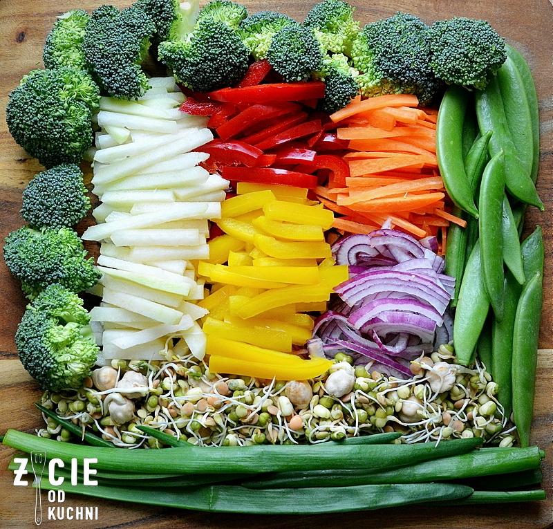 danie wegetarianskie, brokulym papryka, ryz czerwony, groszek cukrowy, bratki, marchewka, julianne, krojenie w julianne, kalarepa, obiad, kolacja, dodatek do grilla, salatka do dan z grilla