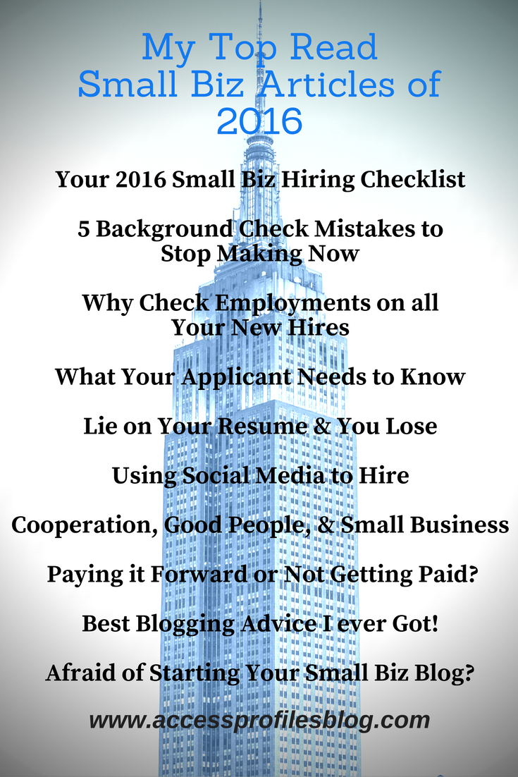 Access Profiles, Inc.: My Top Read Small Business Blog Articles of 2016