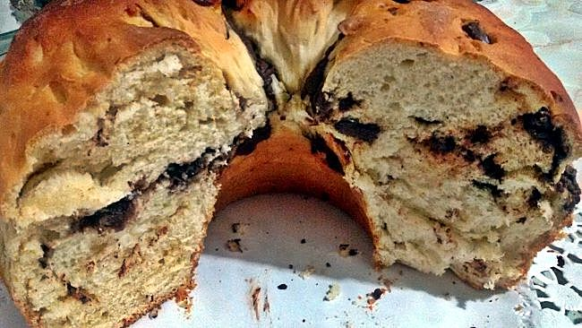 Rosco de pan dulce con chocolate