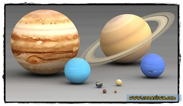 Planet di Sistem Tata Surya, Merkurius, Venus, Bumi, Mars, Jupiter, Saturnus, Uranus, Neptunus. | www.zonasiswa.com