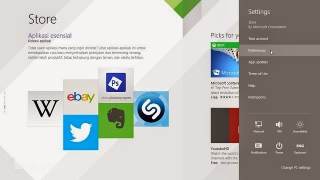 Cara mematikan app localization windows store di windows 8.1