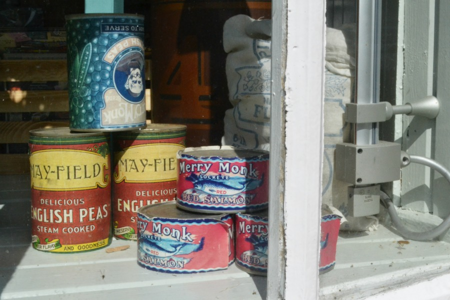 village shop window display vintage food cans new lanark heritage site scotland