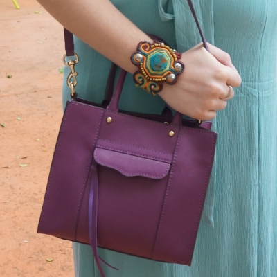 Away From Blue | Accessories: Rebecca Minkoff mini MAB tote in plum, statement cuff
