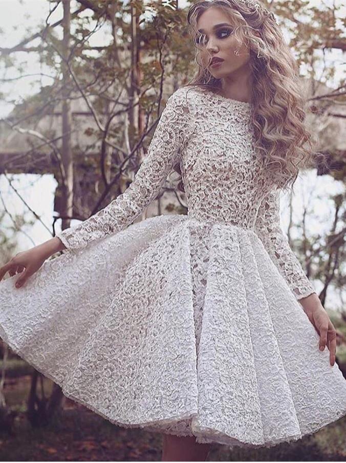 White Long-Sleeves Short Glamorous Full-Lace Homecoming Dress