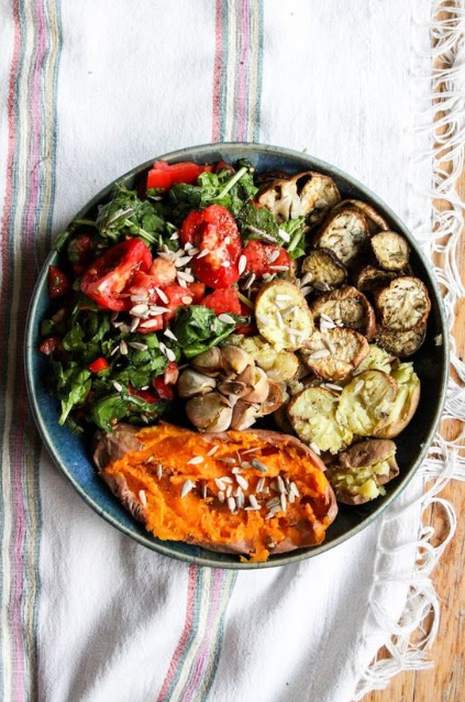 ROASTED VEGGIES with BUTTERY GARLIC + SPINACH SALAD