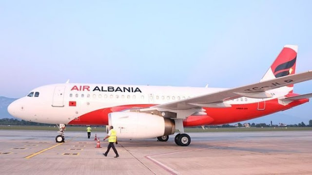 First Air Albania airplane in the sky within March