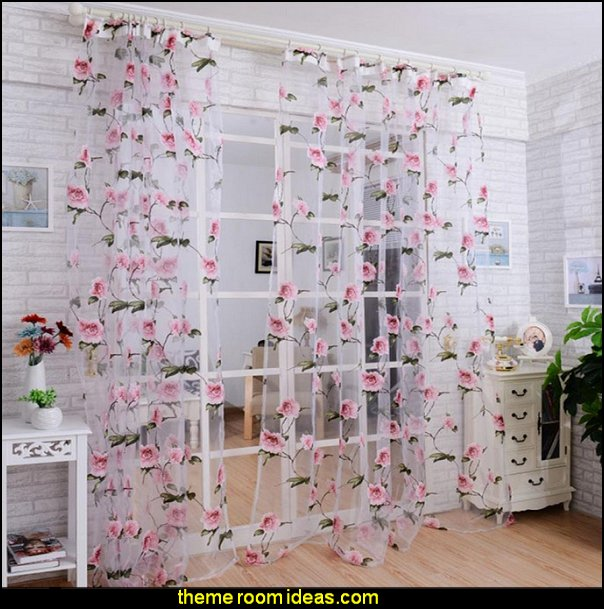 Peony Tulle Window Screens Door Balcony Curtain Sheer