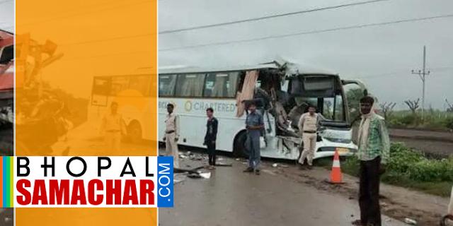 इंदौर-भोपाल चार्टेड बस एक्सीडेंट, 10 घायल, 03 गंभीर | MP NEWS