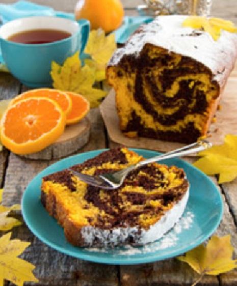Bizcocho de chocolate y naranja