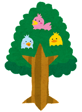 いろいろな木のイラスト「小鳥」