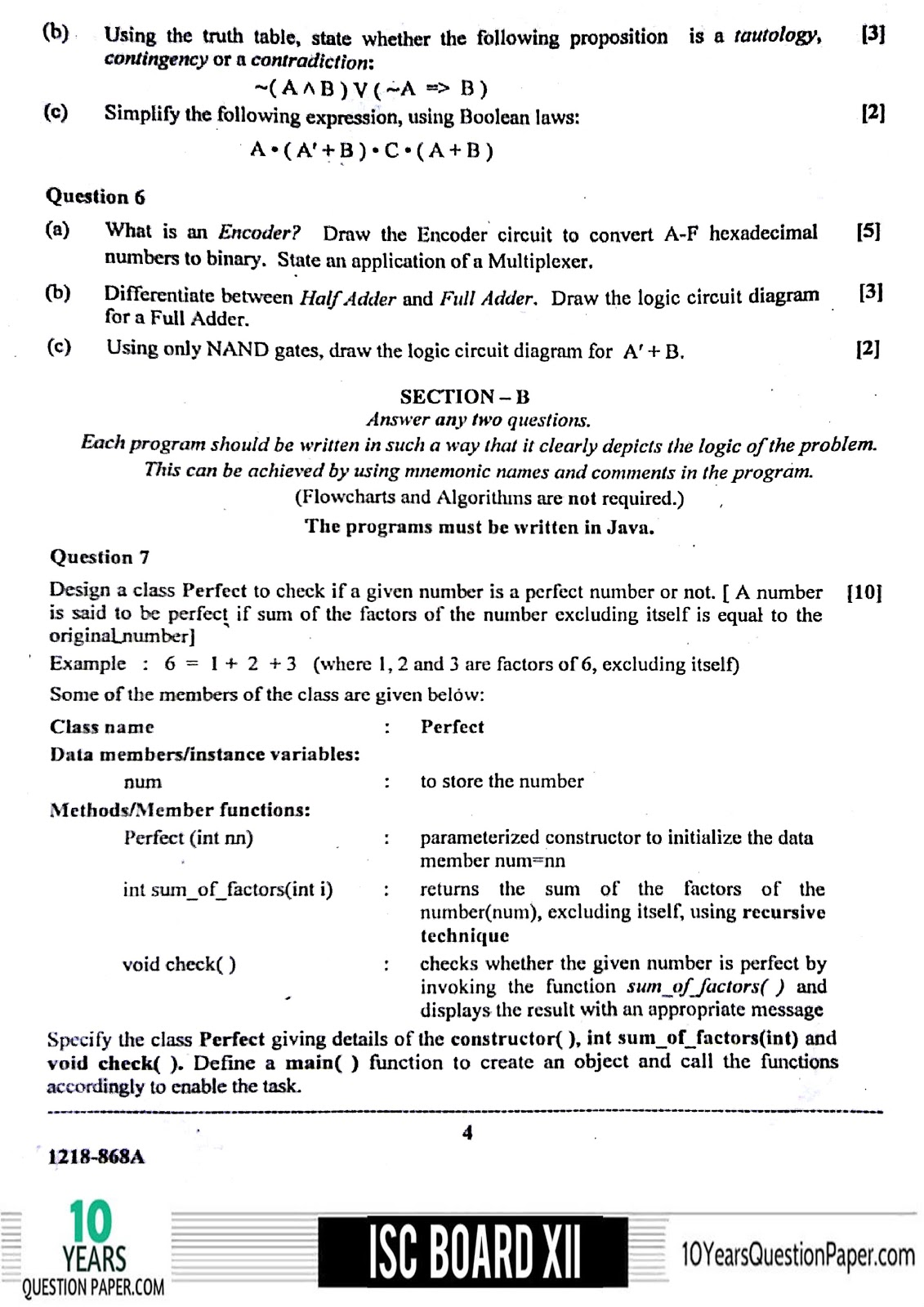 ISC 2018 class 12th Computer Science THEORY question paper