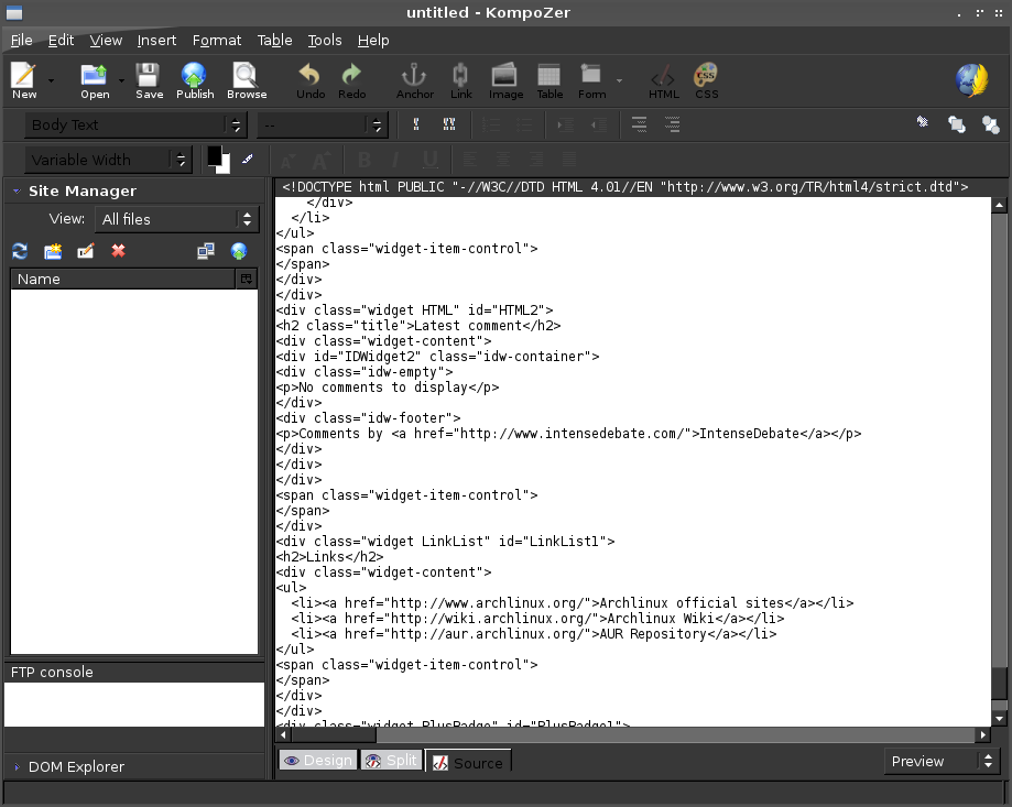 How to install Kompozer a WYSIWYG Html editor on Archlinux